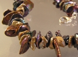 Brown and Gold Keishi Pearl Chip Necklace