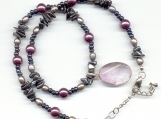 Hematite and Plum Pearls Amethyst Healing Necklace