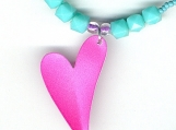Lively Love Pink and Turquoise 80s Metallic Heart Necklace
