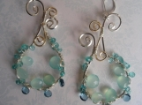 London blue topaz..chalcedony..apatite..wire wrapped earrings