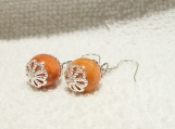 925 Sterling Silver Red Sponge Coral Pierced Earrings