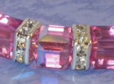 Silver Bangle Bracelet with Rose AB Swarovski Crystal Cubes