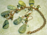 Forest Canopy - Serpentine Pearl Necklace and Earrings Set - Witchery