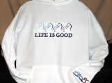 """Life is Good"" Hoodie with Horses"