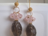 Luck and happiness chinese engraved genuine smokey quartz barrels and rose quartz gold vermeil earrings