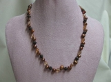 Peach Crystal and Copper Pearl Necklace