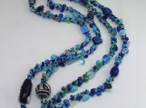 Not your grandmas Spiral rope necklace/Blue Mix