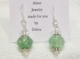 Sterling Silver Frosted Green Glass Earrings