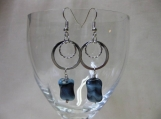 Blue Black Swirl Earrings
