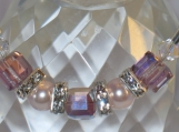 Bracelet with Amethyst Crystal Cubes and Pink Pearls