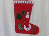 Green & Red Decorated Felt Christmas Stocking