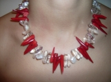 Gorgeous coral, pearl and crystal necklace