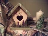 SALE FREE SHIPPING hand painted wooden birdhouse & candle