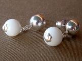 White Dot Post Earrings