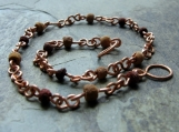 earth girl-- copper and reclaimed wood bead anklet