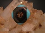 22kt Gold Japanese Kanji Turquoise & Black Irid Pendant