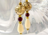 Handmade Earrings with Vintage Brass, Ivory Bone, Red Stone