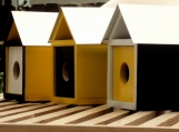 Mid Century Modern Trio of Goldfinch Birdhouses
