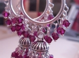 Jaipur Jhumkas - Silver Jhumkas with Ruby Red Swarovski Crystals