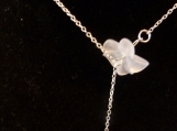 Sterling Sivler Lariat Necklace, Matte Crystal Flower & Orchid