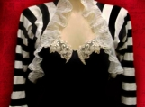 Victorian Wrap Shrug Bolero, Black Stripes, Tim Burton inspired