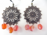 copper beaded earrings with orange beads