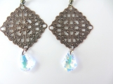 Copper beaded earrings with Swarovski crystals
