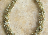 Thick Prehnite Gemstone Crocheted Gold Plated Necklace