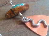 Copper Triangle and Turquoise Earrings.  Mixed Metal