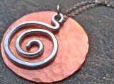 Round copper pendant with aluminum spiral Necklace