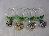 Flowers Wine Glass Rings/Charms