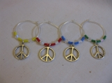 Peace Sign Wine Glass Rings