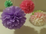 20 Tissue Paper Pom Poms, you pick colors