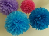 6 Tissue Paper Pom Poms, you pick colors