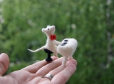 Funny felted mouse miniature singing little pet