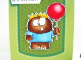 Masculine Birthday Card for Boy Hand Stamped Monster