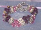 Bracelet with Amethyst & Rose Swarovski crystals