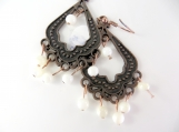 Copper and white beaded earrings