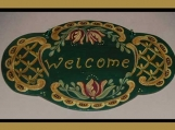 Lovely Hand Painted Wood Welcome Sign in the Rosemaling Style
