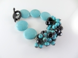 Turquoise beaded bracelet with black