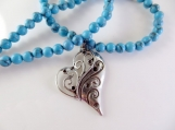 Blue turquoise beaded necklace with heart