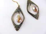 Amber and gold window earrings