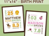 11x14 Birth Print for Boys and Girls - Custom Nursery Art