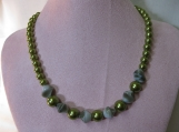 Olive Green Pearl Necklace and Earrings