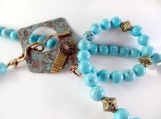 Rustic turquoise beaded necklace