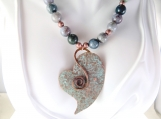 Earthtone beads and heart necklace