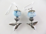 Light blue hummingbird beaded earrings