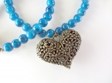 Dark turquoise and heart necklace
