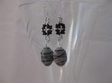 Grey Black and Silver Earrings