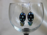 Oval Black Polka dot Bead and Cut Glass Pyramid Earrings